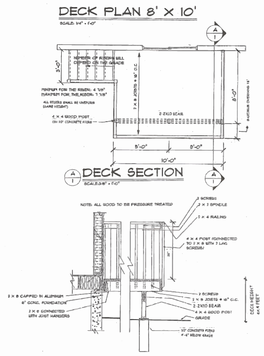 Technical Drawing of a Deck Plan